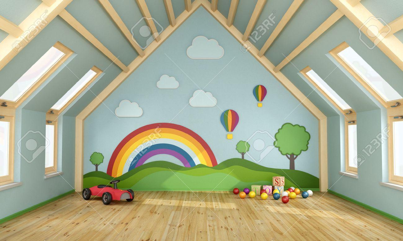 Décor Salle De Jeux salle de jeux dans le grenier avec des jouets et de la décoration sur le  mur - rendu 3d