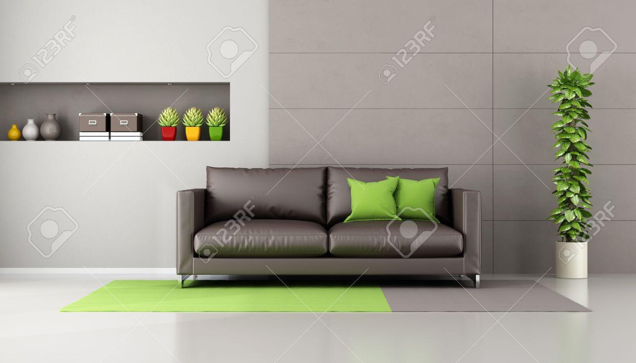 Brown Sofa In Einem Zeitgenssischen Wohnzimmer Mit Nische Bcher Und Dekor Objekte
