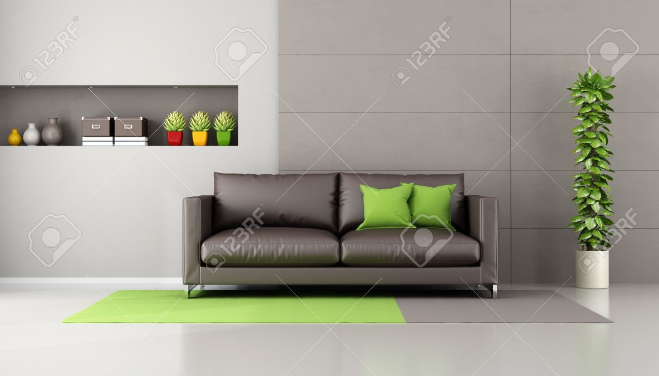 Brown Sofa In A Contemporary Livingroom With Niche Books And Decor Objects