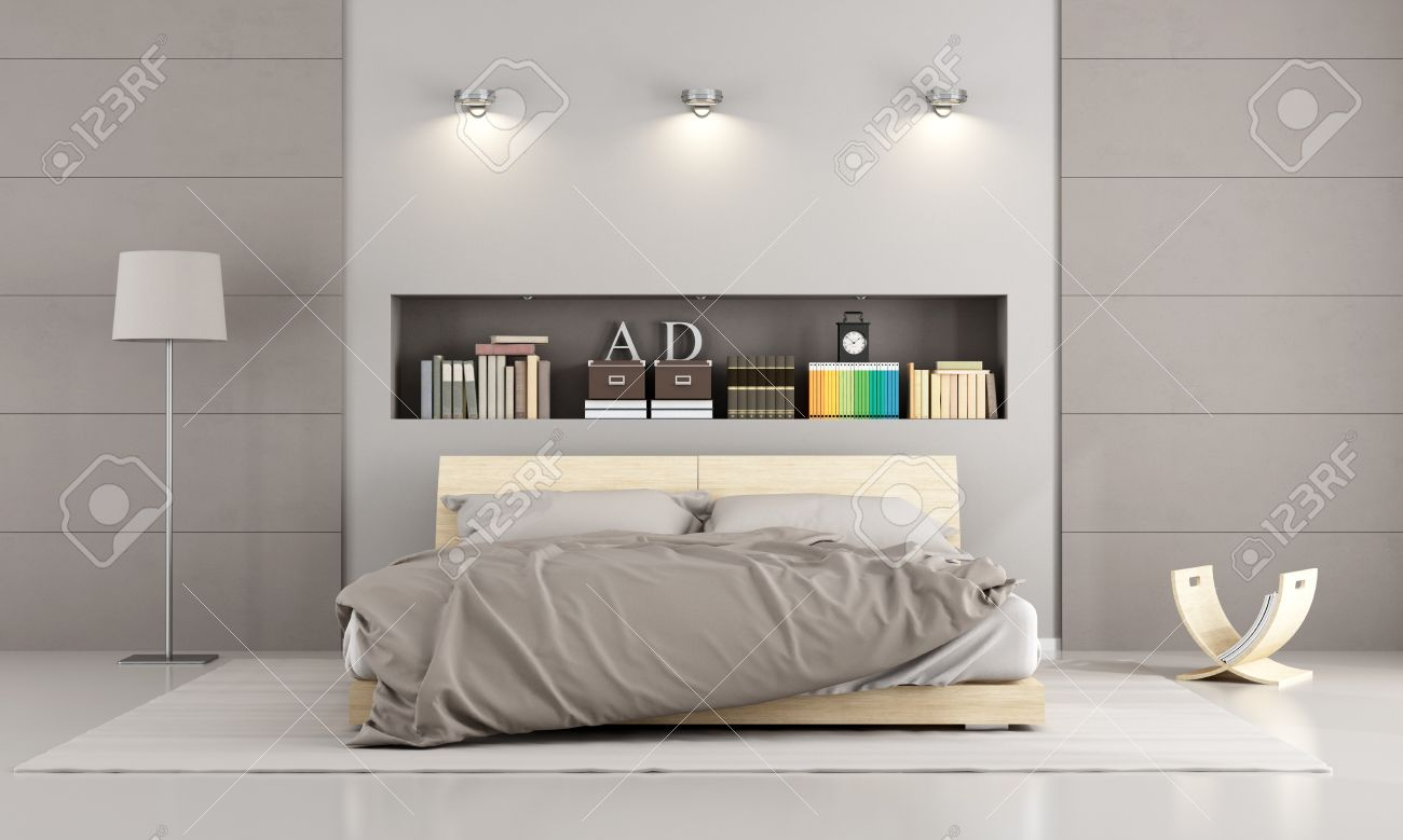 Wooden double bed in a contemporary bedroom with  niche , books and decor objects - 3D Rendering Standard-Bild - 42448942