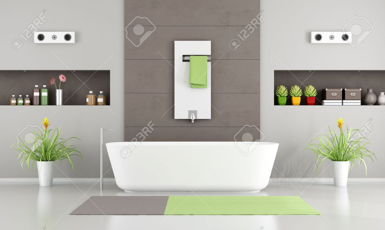 Bon Contemporary Bathroom With White Bathtub,heater And Niche  3D Rendering  Stock Photo   42448943