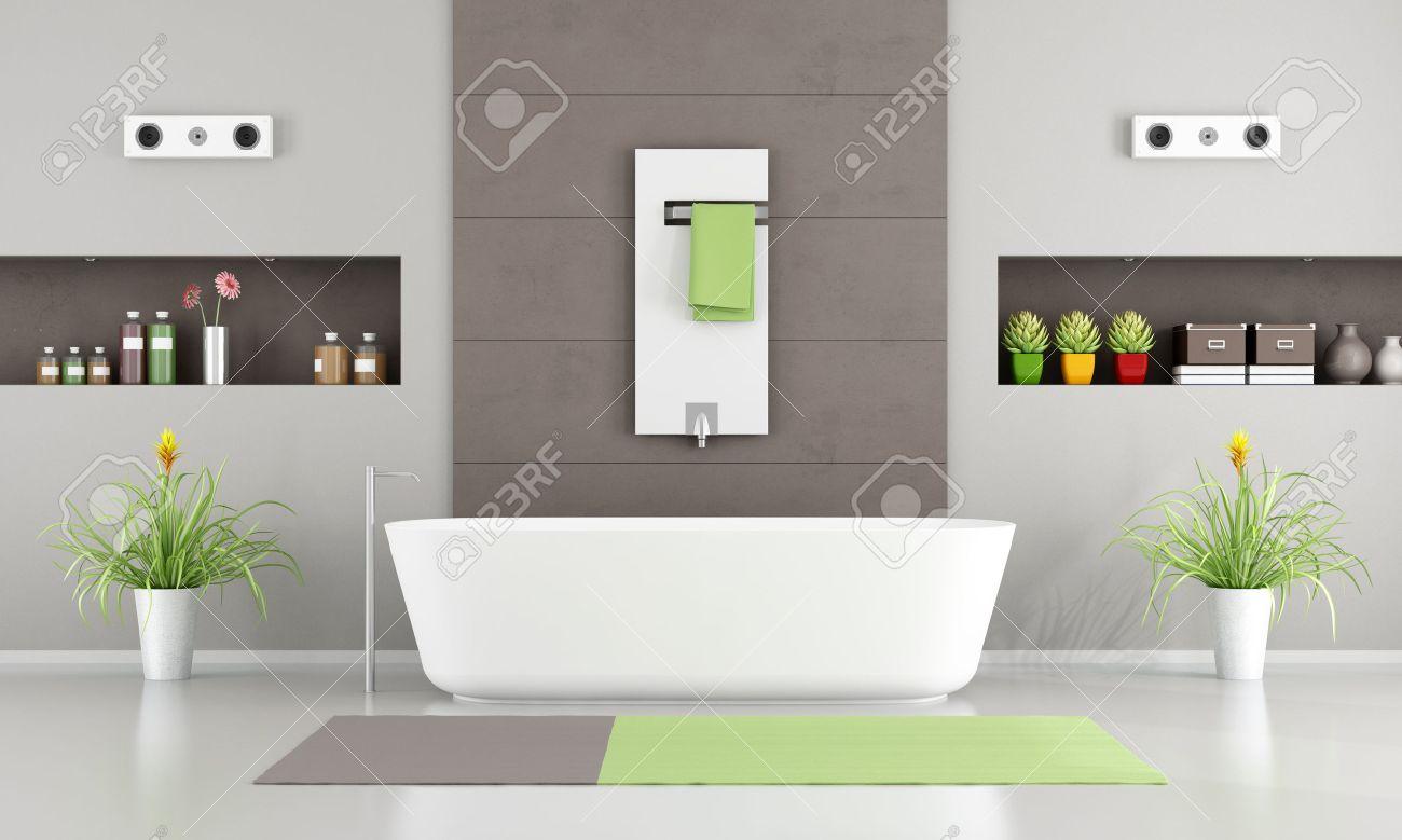 Hervorragend Modernes Badezimmer Mit Weißen Badewanne, Heizung Und Nischen 3D Rendering  Standard Bild