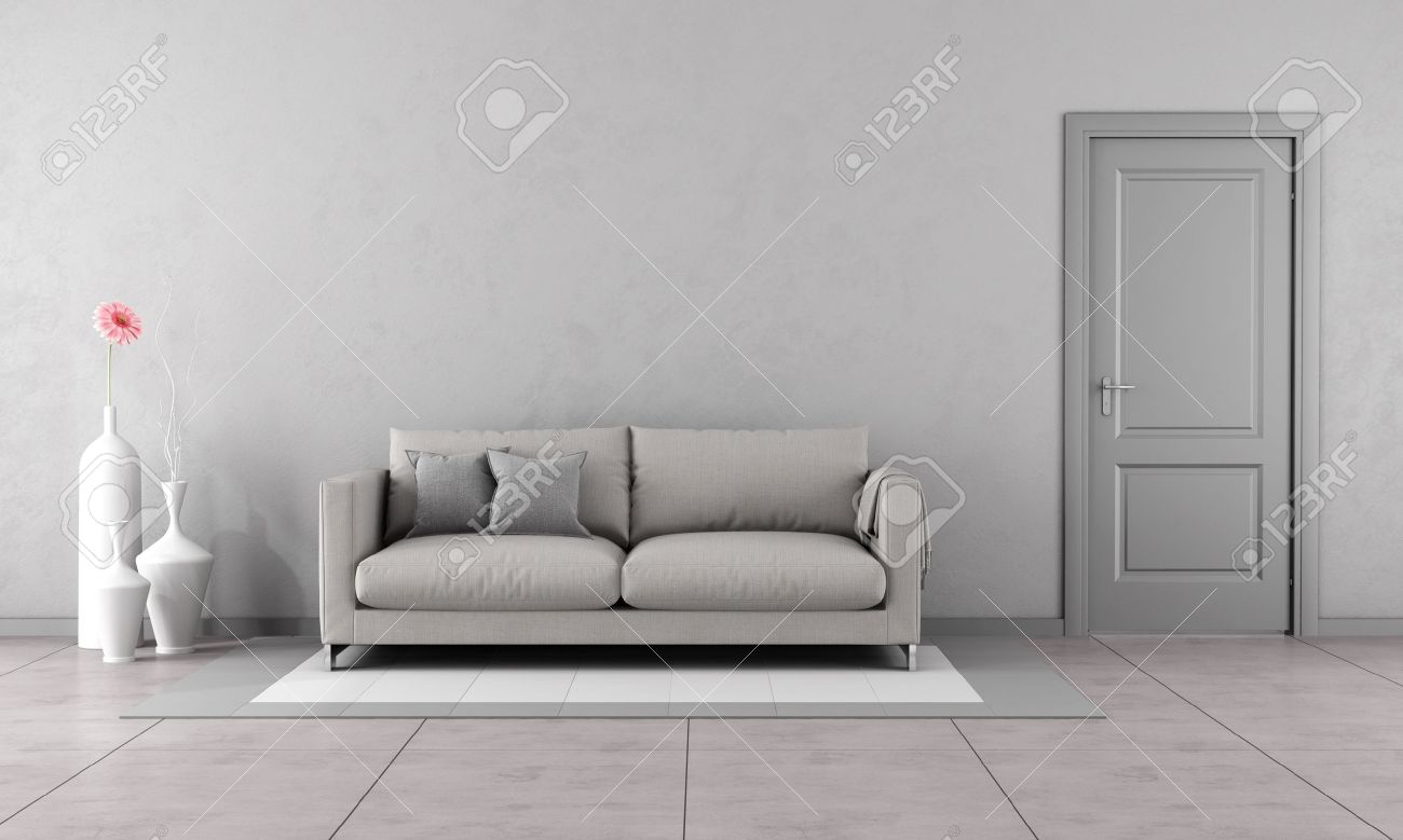 Gray living room with modern couch and closed door-3D Rendering Standard-Bild - 42906534