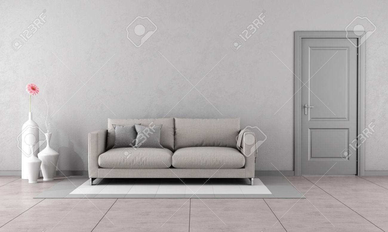 Salon gris avec canapé moderne et fermé la porte-Rendu 3D