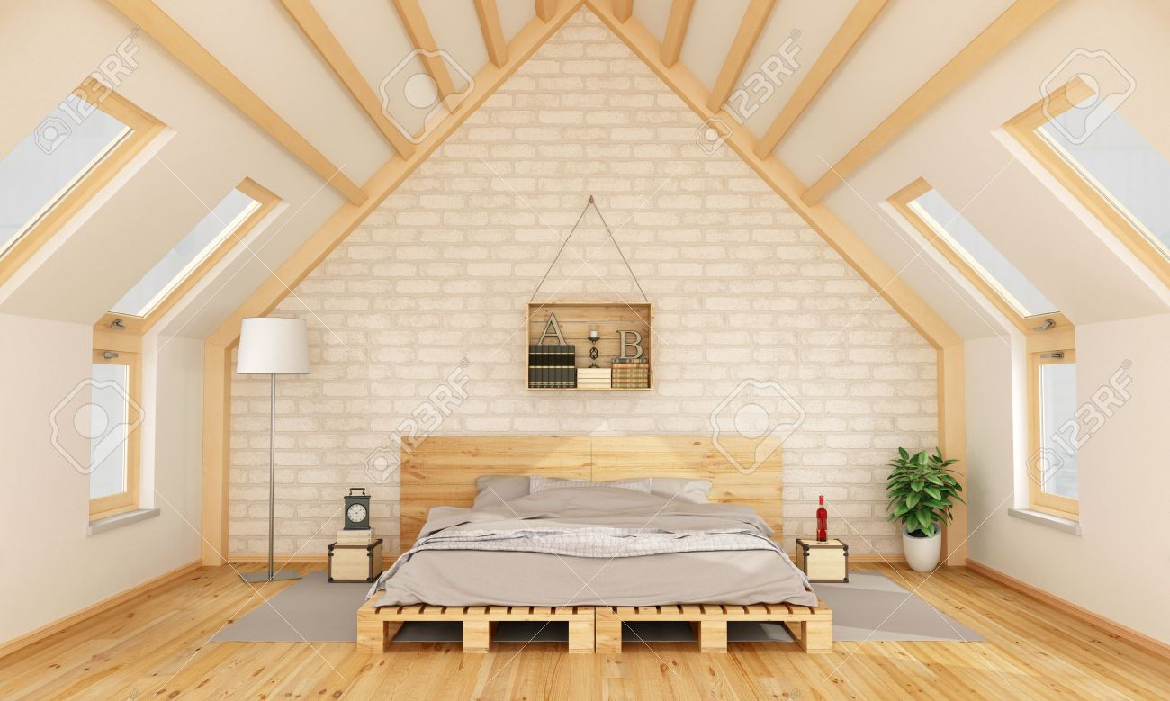 Bedroom in the attic with pallet bed and wooden crate on brick wall -3D Rendering Standard-Bild - 42906539