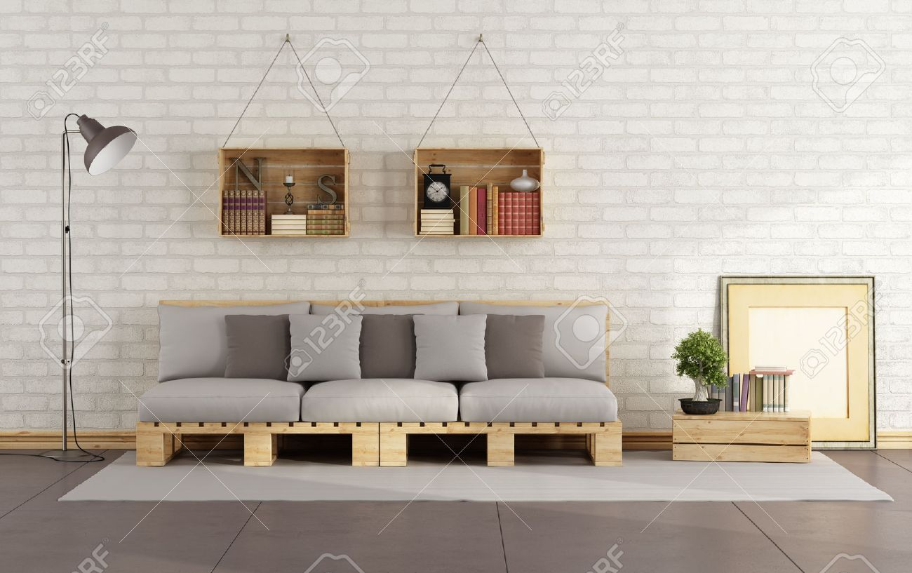 living room with pallet sofa and wooden crate with books on brick wall 3d rendering brick living room furniture