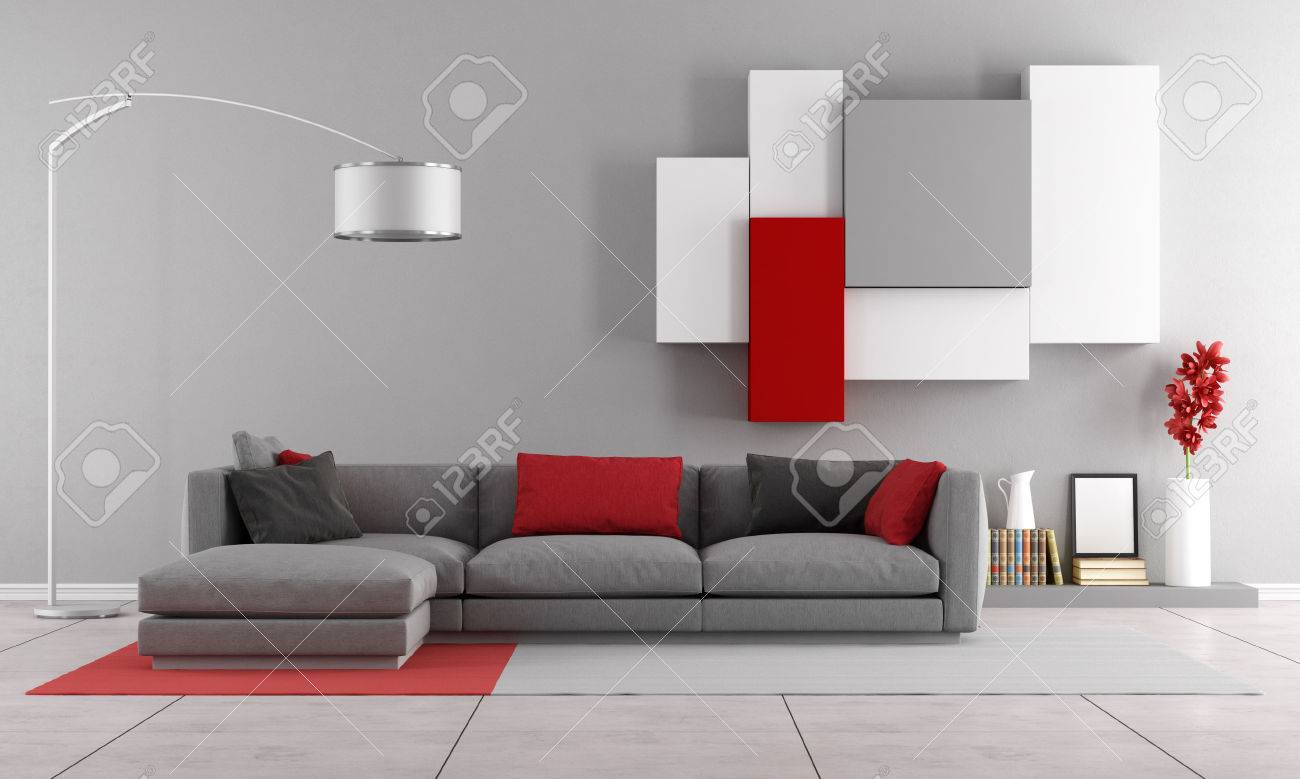 Contemporary Lounge With Gray Sofa And Wall Unit On Background ...