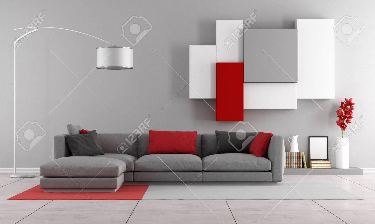 Salon avec canapé contemporain gris et unité murale sur fond - Rendu 3D