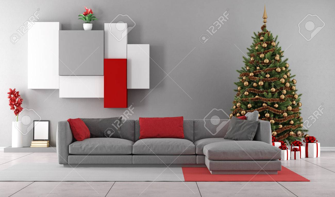 Contemporary living room with christmas tree ,gift and modern sofa - 3D Rendering - 43644352