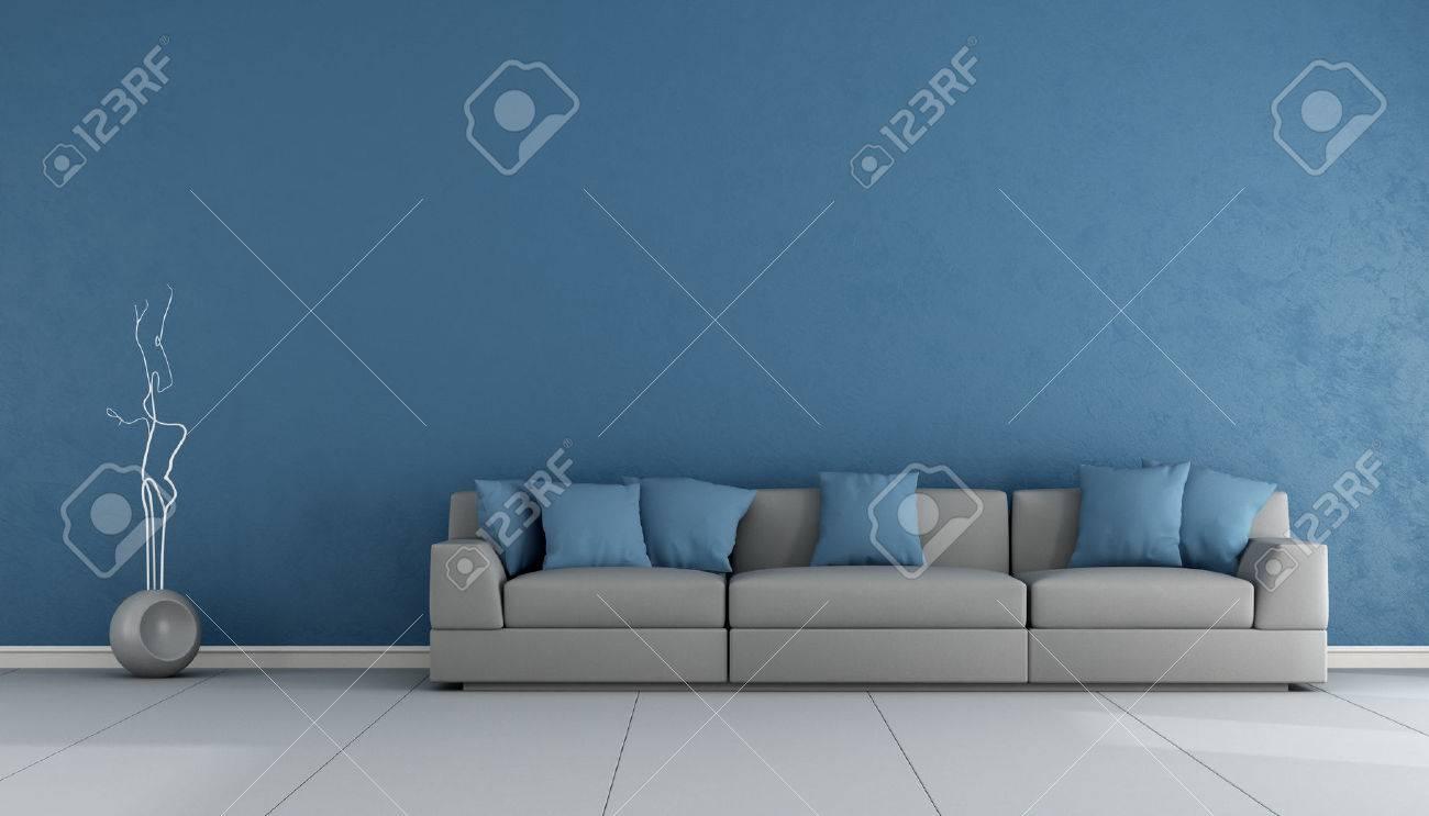 Ropom salon bleu et gris avec un élégant canapé - Rendu 3D