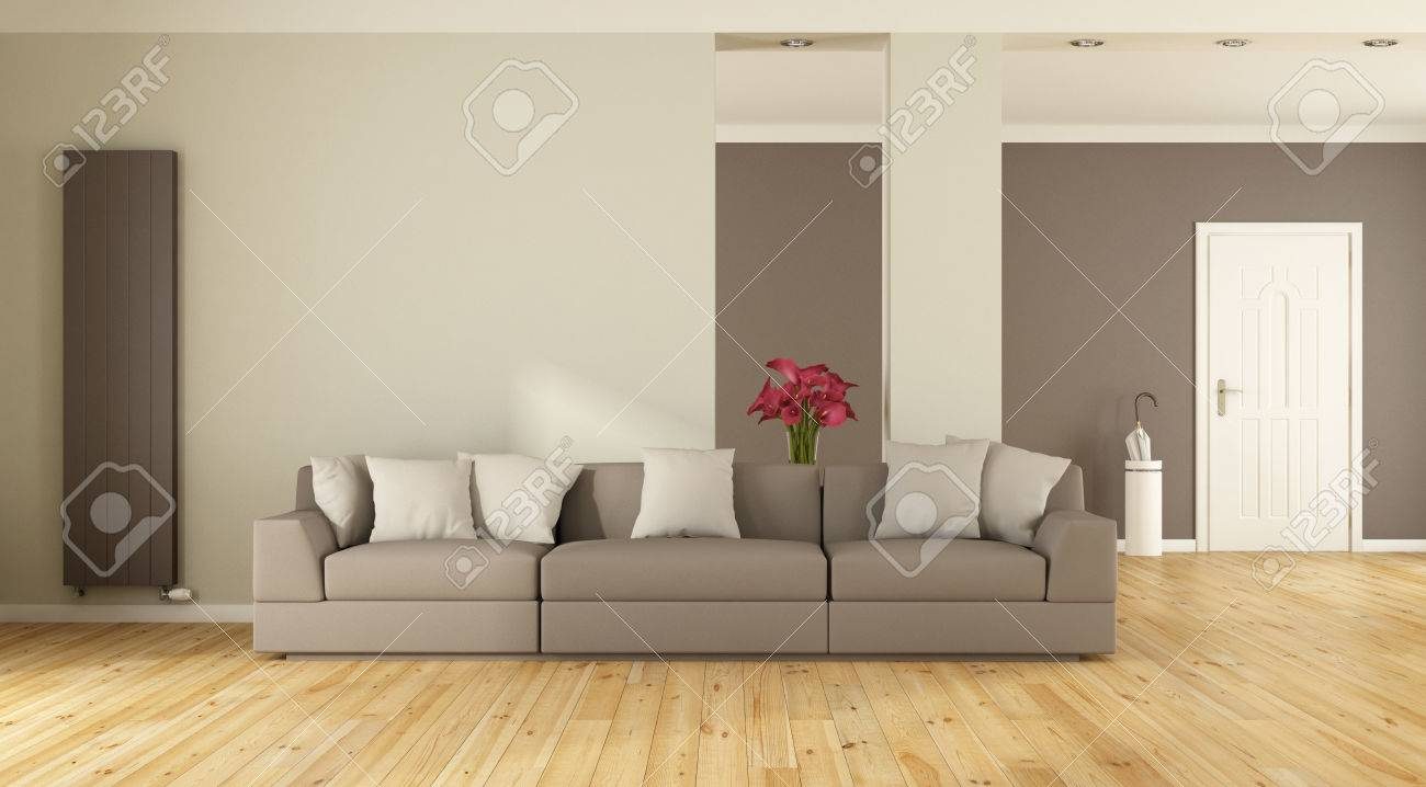 Modern Living Room With Sofaheater And Front Door