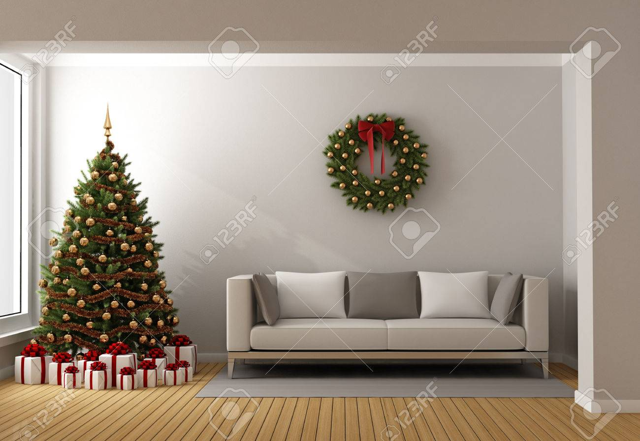Contemporary living room with christmas tree ,gift and modern sofa - 3D Rendering Standard-Bild - 45723499