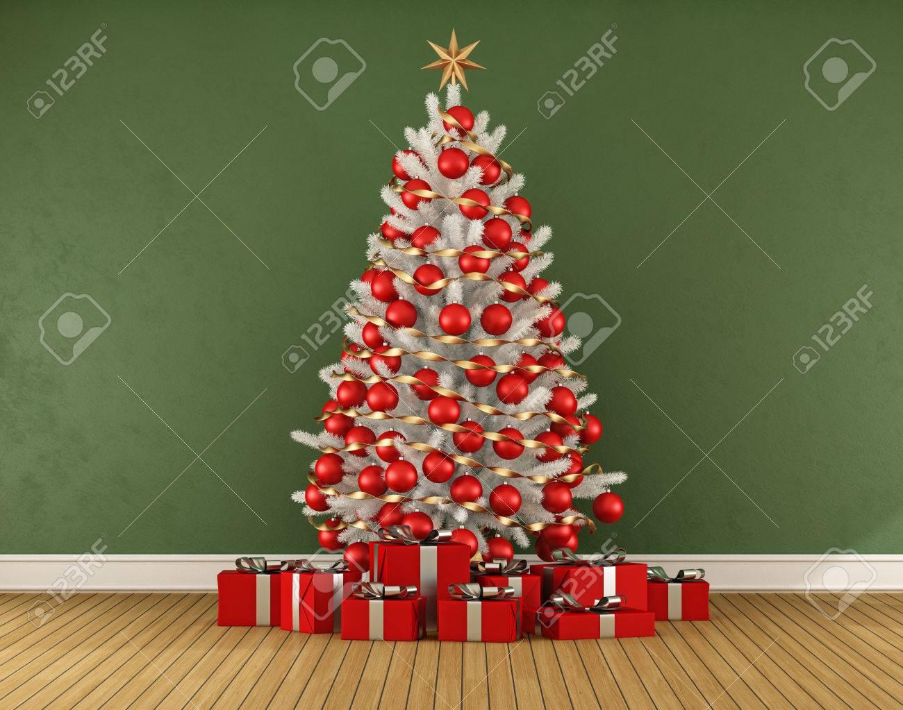 Chambre verte avec blanc LRT Noël avec décoration rouge - rendu 3D