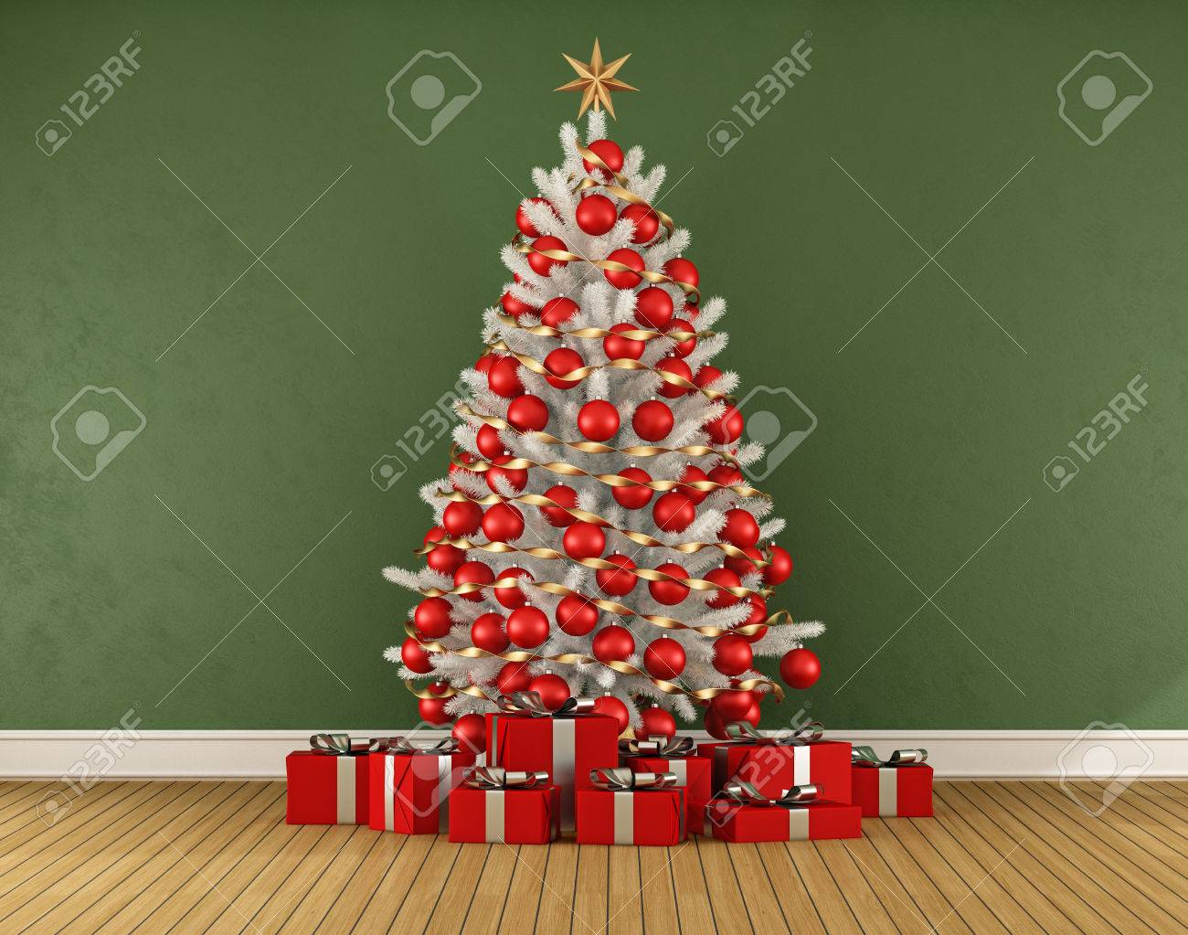 Green Room With White Christmas Trre With Red Decoration 3d Stock Photo Picture And Royalty Free Image Image 45723502