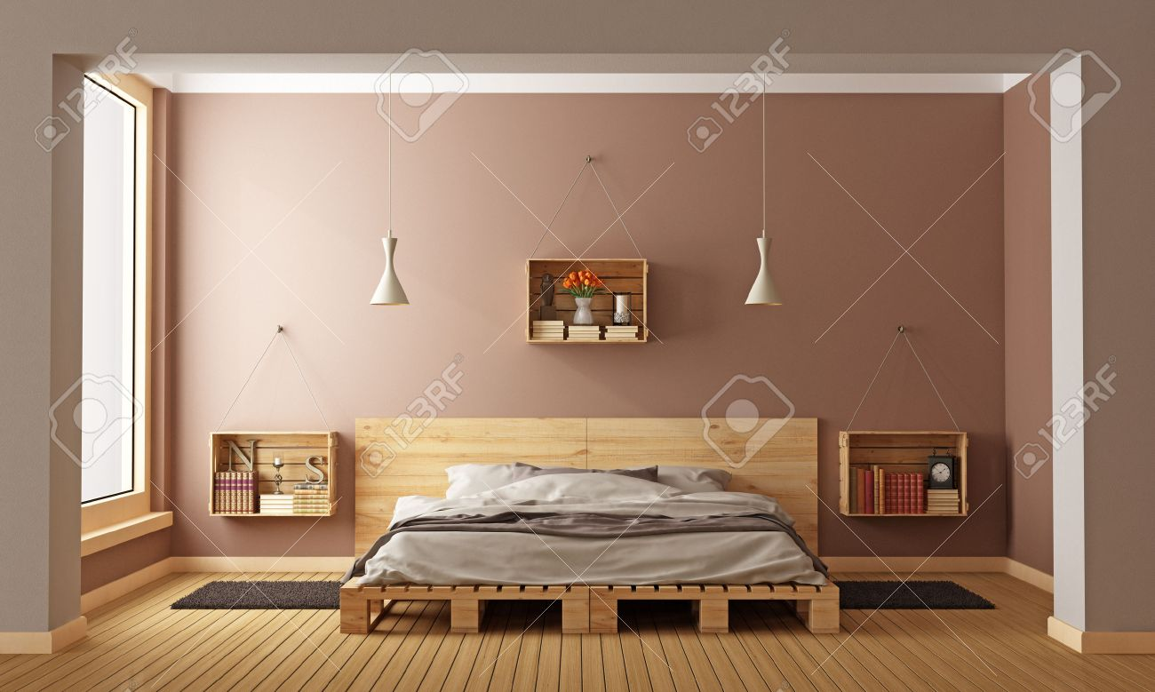 bedroom with pallet bed and wooden crates used as nightstands 3d rendering stock photo - Wooden Crate Bed Frame