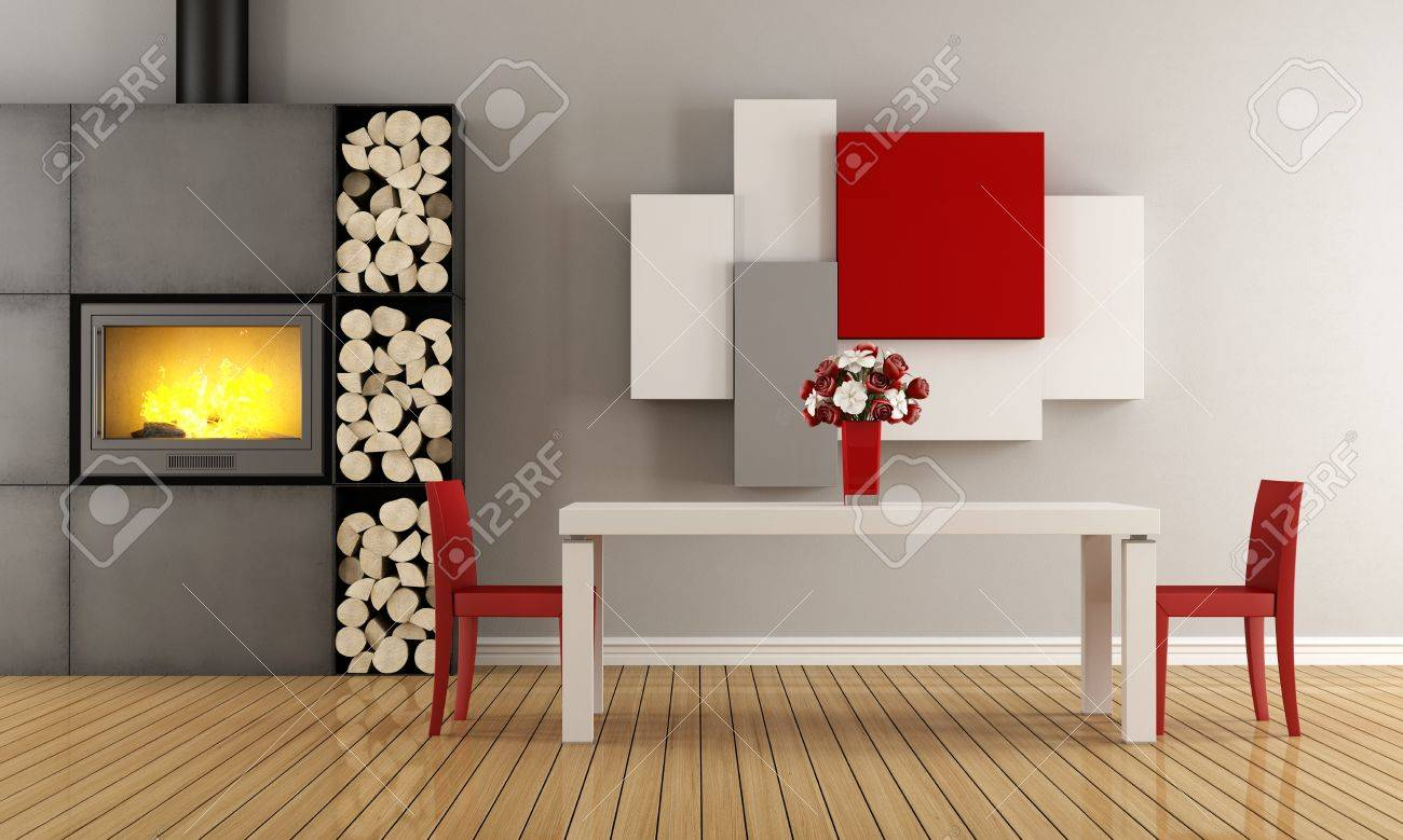Moderno Comedor Con Chimenea - 3D Fotos, Retratos, Imágenes Y ...