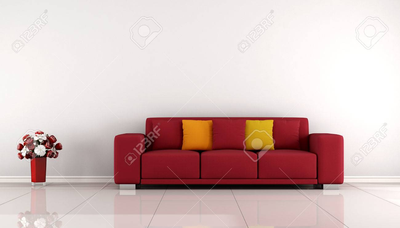 Minimalist Living Room With Red Sofa And White Wall- 3D Rendering ...