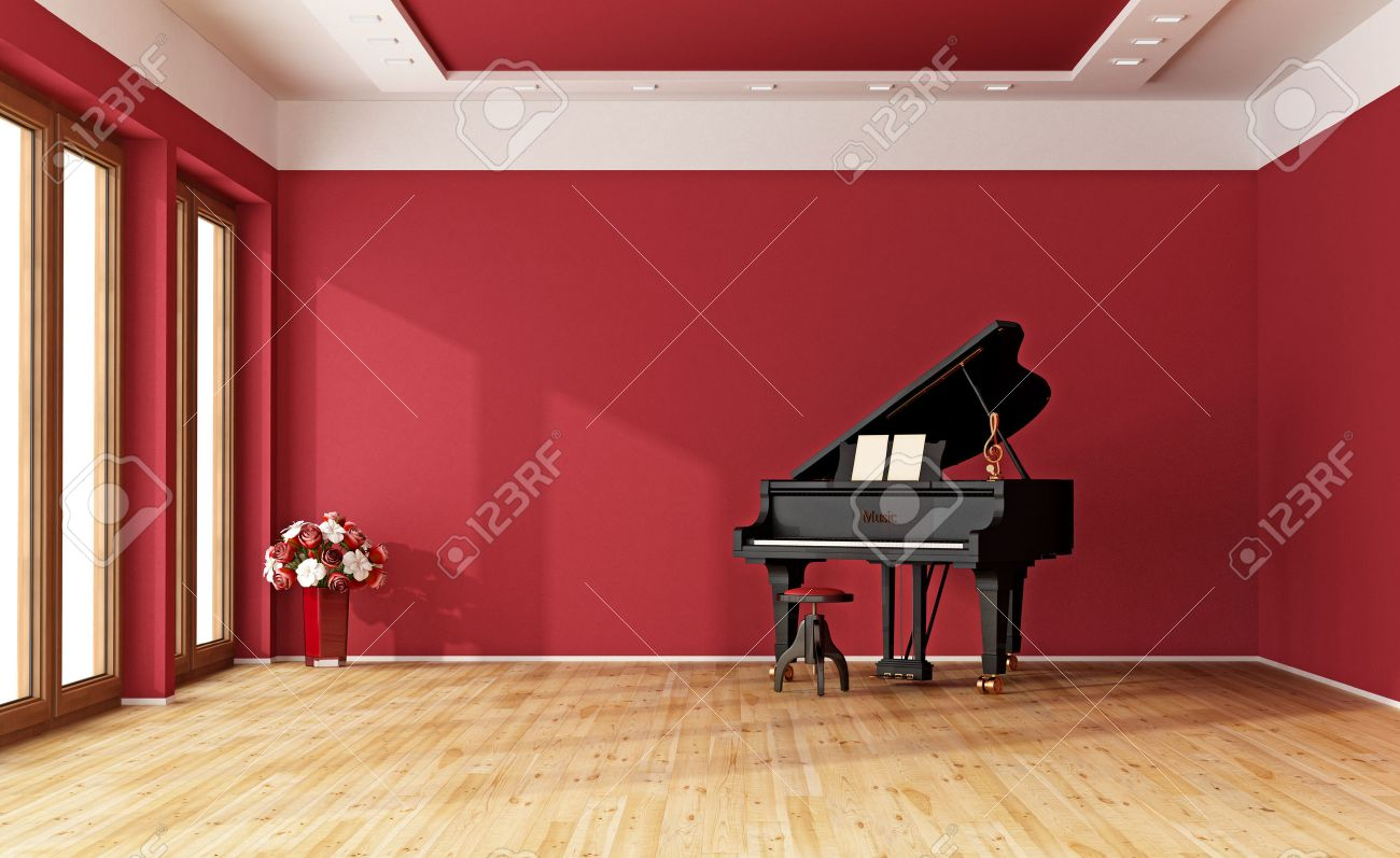 Large red room with black grand piano - 3D Rendering Standard-Bild - 46932709