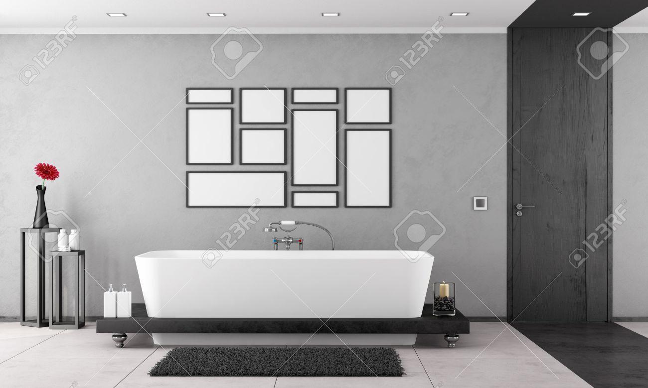 Salle de bain noir et blanc avec baignoire élégante et porte en ...