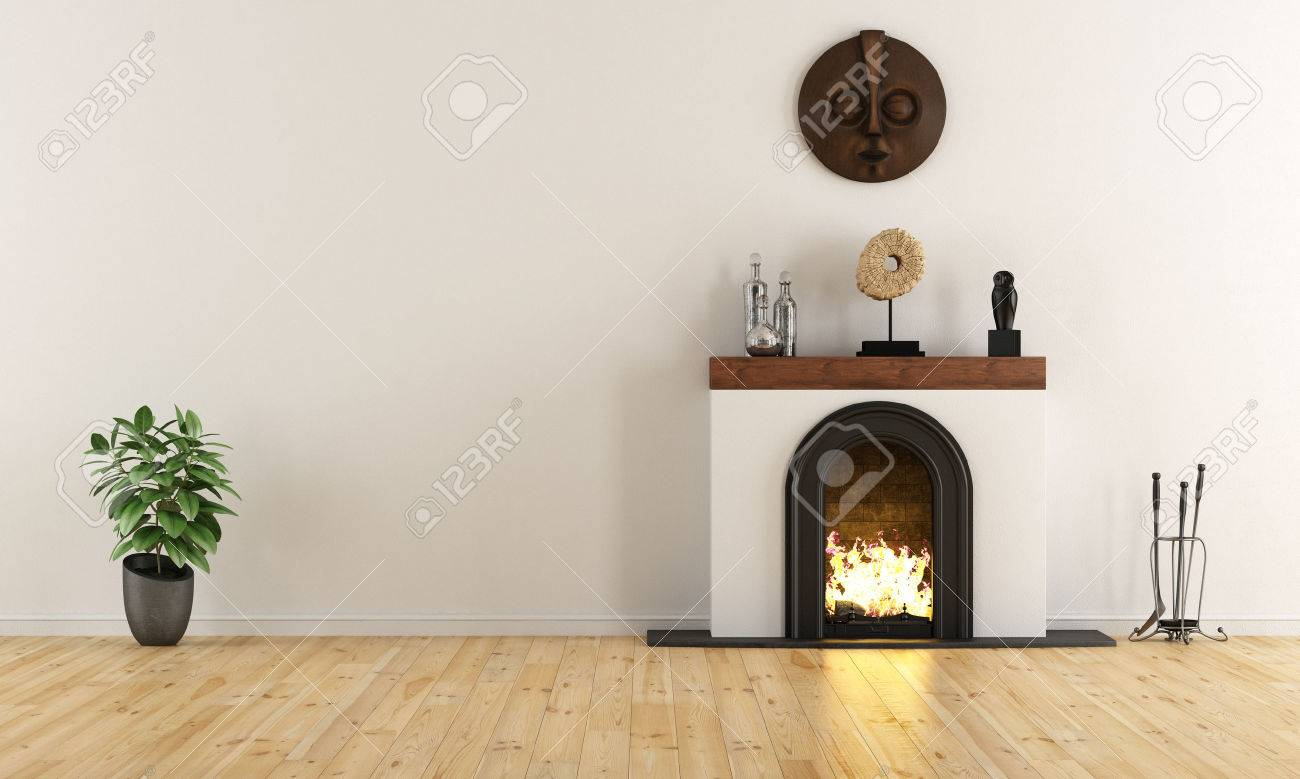 Empty room with minimalist fireplace with ethnic decor objects - 3D Rendering Standard-Bild - 46933618