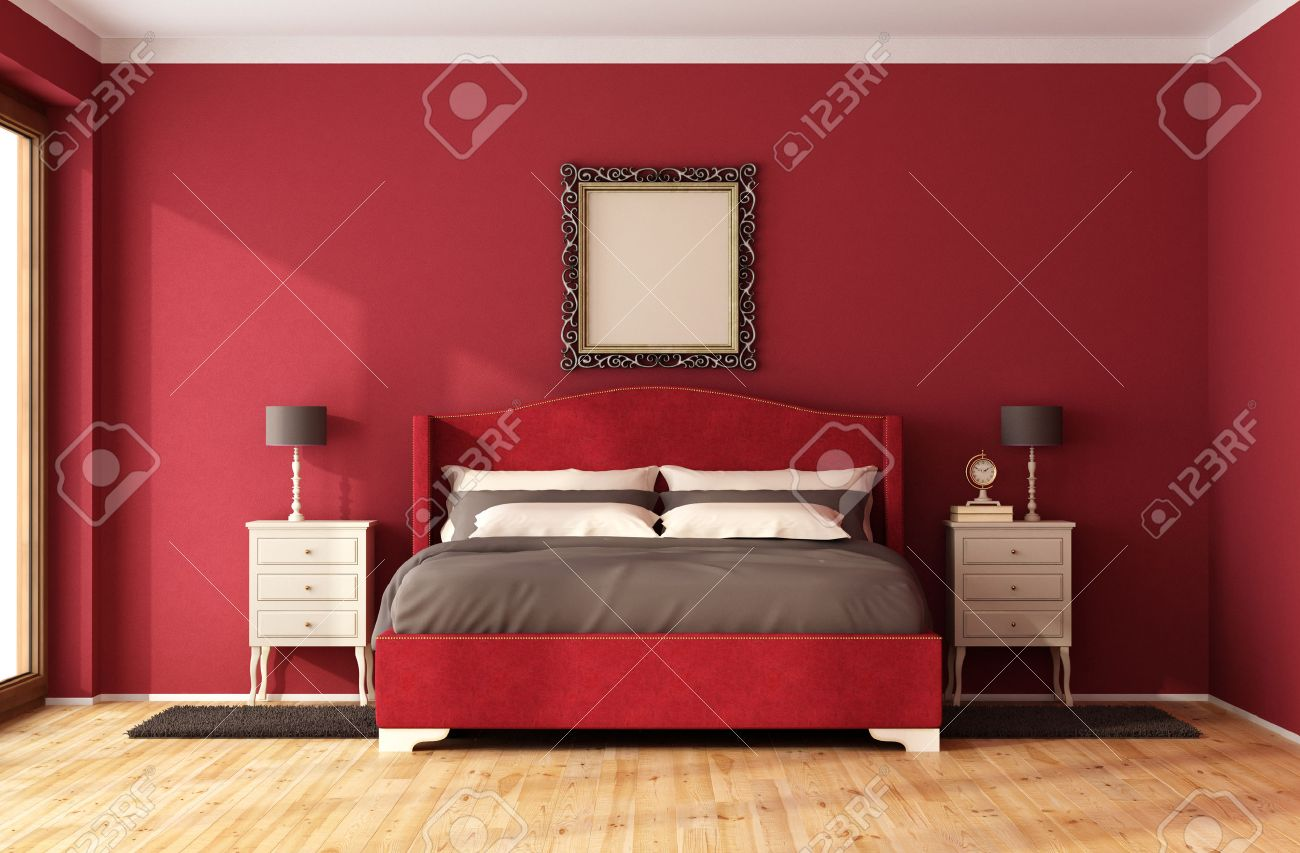 bed frame red classic bedroom with elegant bed and nightstand 3d rendering