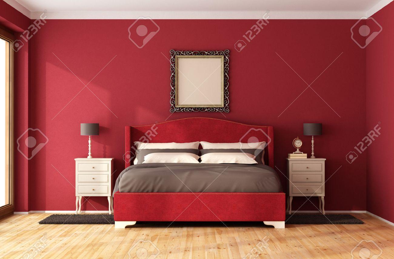 Red Classic Bedroom with elegant bed and nightstand - 3D Rendering Standard-Bild - 46933636