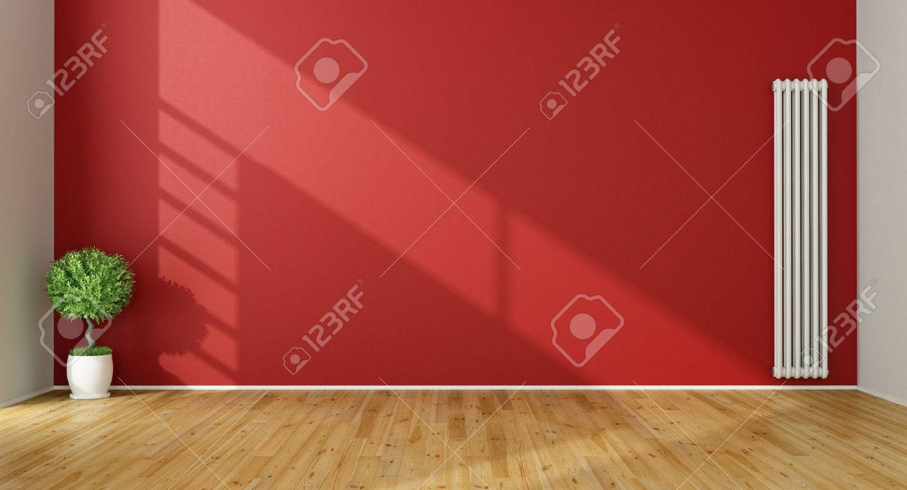 Red Living Room with  vertical heater and plant - 3D Rendering Standard-Bild - 46934011