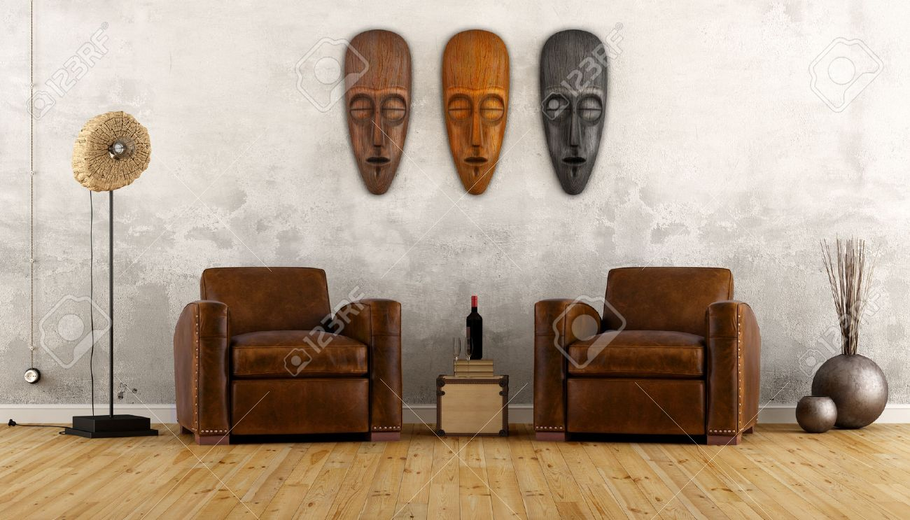 Vintage room in ethnic style with two leather armchair and african masks on wall - 3D Rendering Standard-Bild - 47995121
