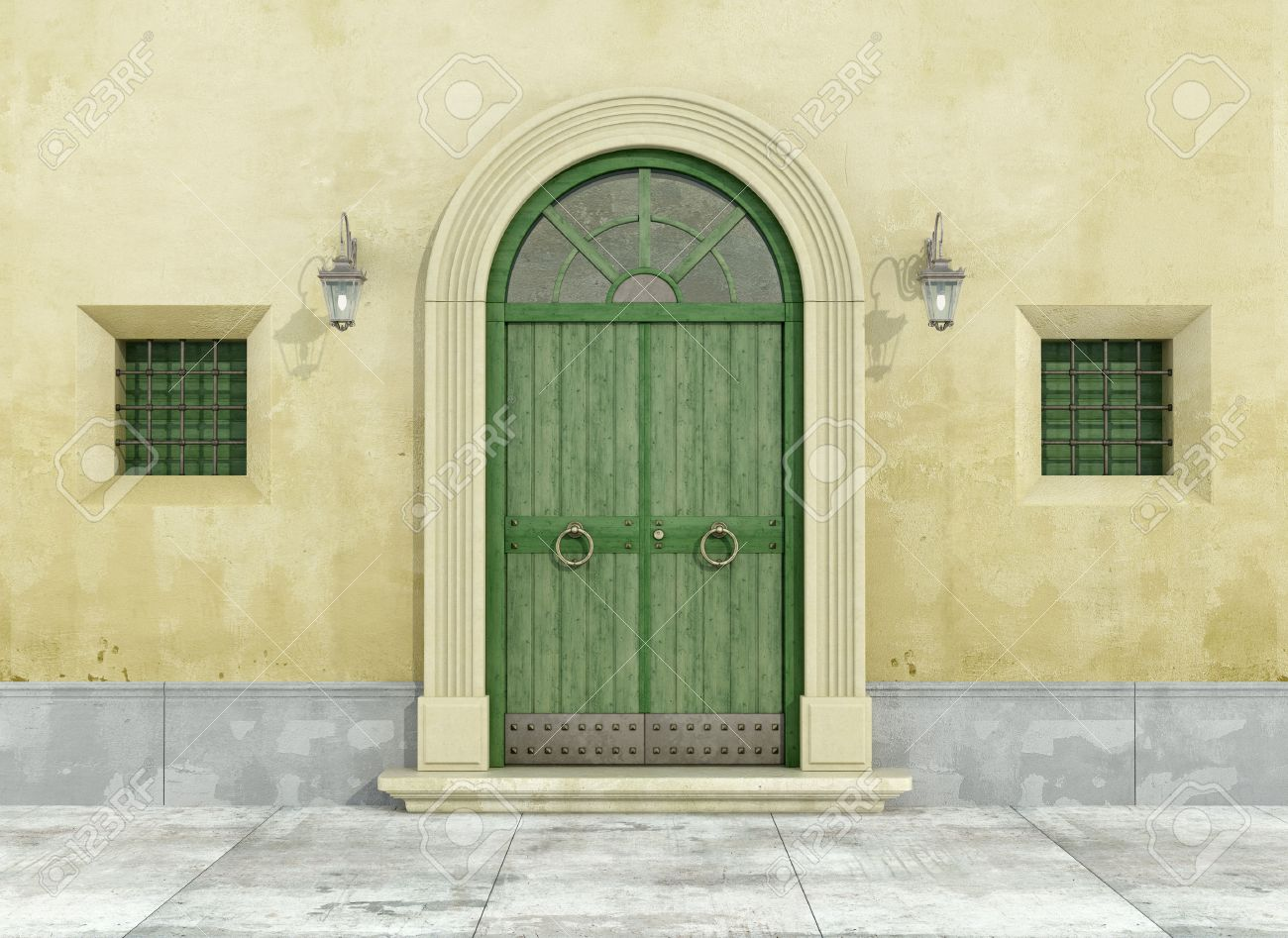 Detail of an old facade with green doorway and two little windows - 3D Rendering Standard-Bild - 47995126
