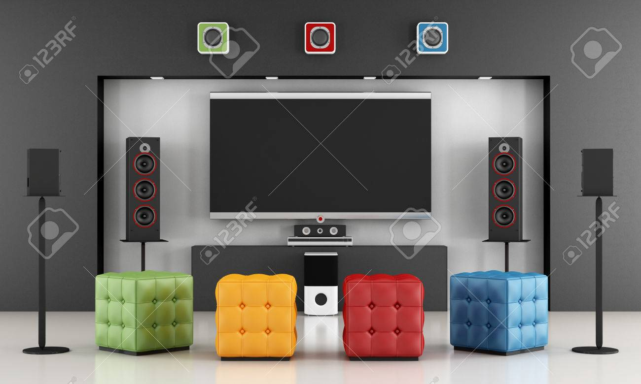 Home Cinema Room With Colorful Pouf And Tv Set 3d Rendering  # Table Tv Avec Home Cinema