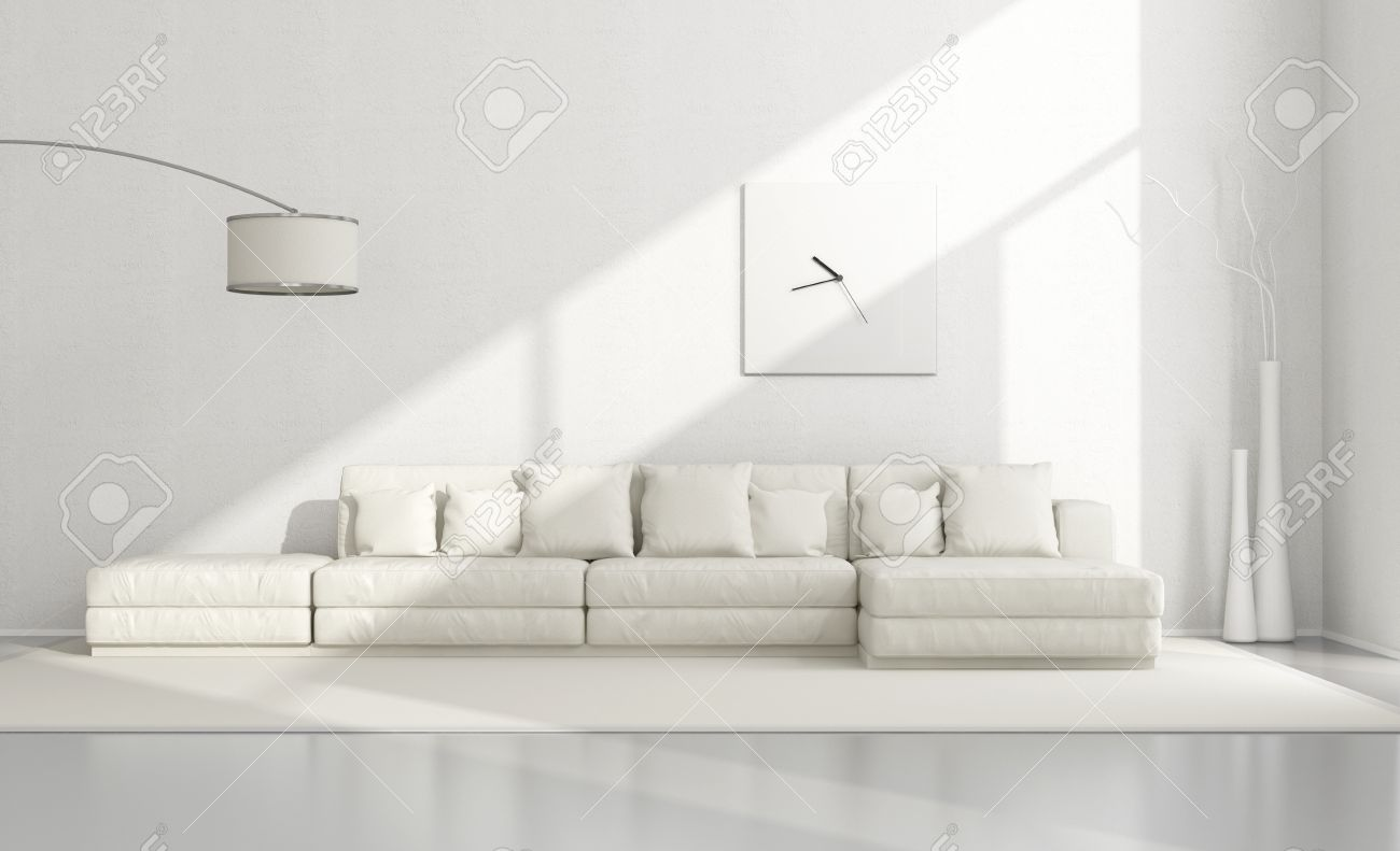 White Minimalist Living Room With Elegant Sofa,floor Lamp And Clock   3D  Rendering Stock