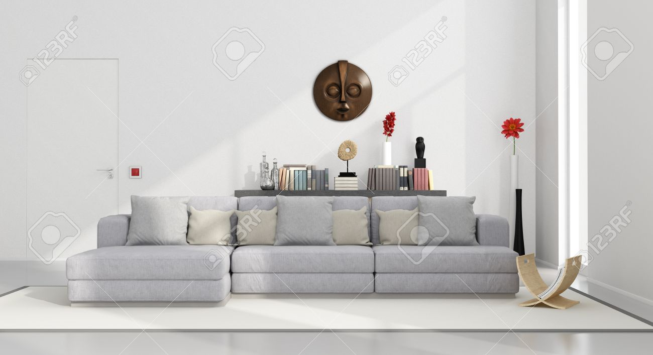 White Minimalist Living Room With Gray Couch And Decor Objects ...