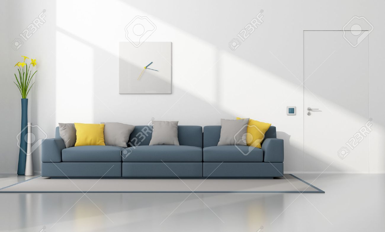 white and blue modern lounge with sofa and closed door  d  - white and blue modern lounge with sofa and closed door  d rendering stockphoto