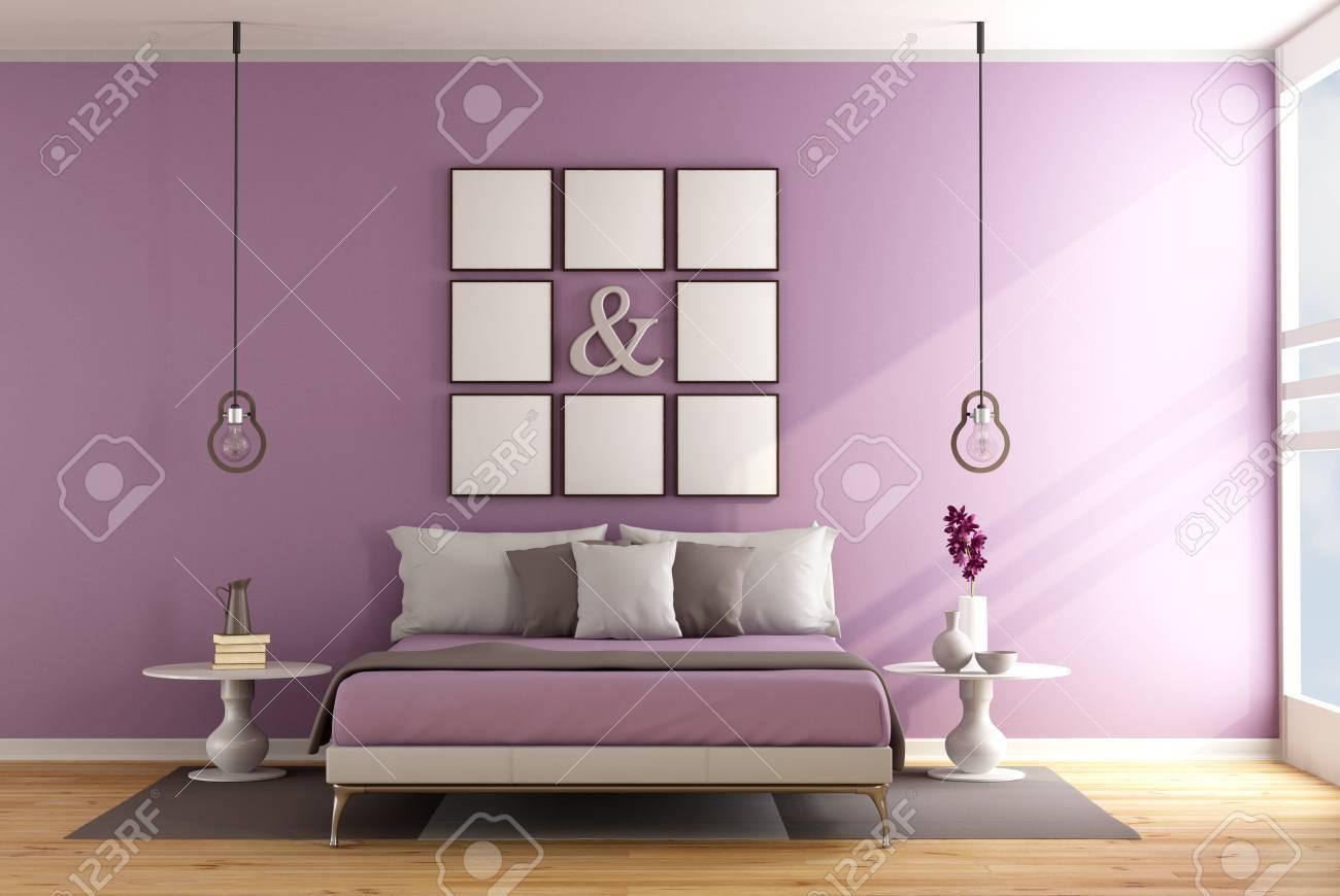 Dormitorio Contemporáneo Con Cama Doble, Mesita De Noche Y Marco En ...