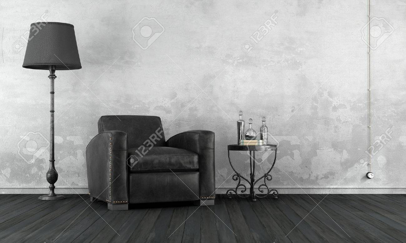 Black and white vintage living room with leather armchair and wrought iron coffee table - 3D Rendering Standard-Bild - 49213942
