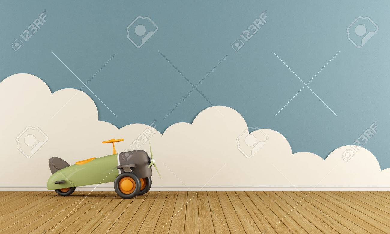 Empty playroom with toy airplane on wooden floor  and clouds - 3D Rendering Standard-Bild - 49213943