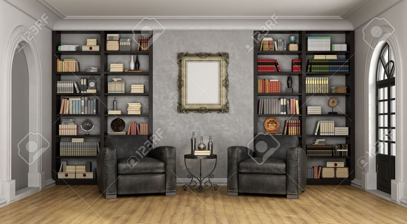 Luxury living room with large bookcase full