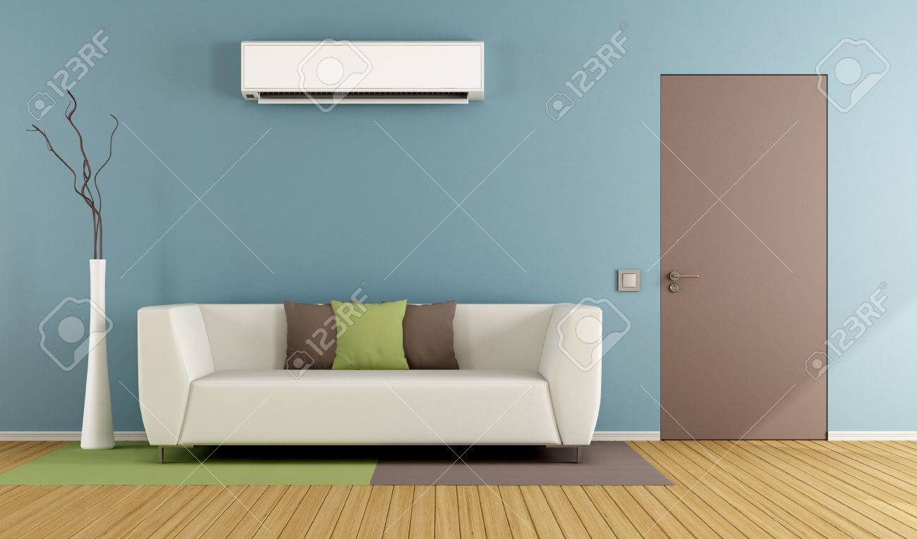 Contemporary living room with white sofa, air conditioner and closed door - 3D Rendering Standard-Bild - 50159423