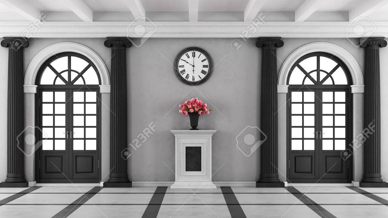 Entrée Noir Et Blanc entrée de la maison de luxe en noir et blanc avec deux fenêtres et  piédestal avec des fleurs - rendu 3d