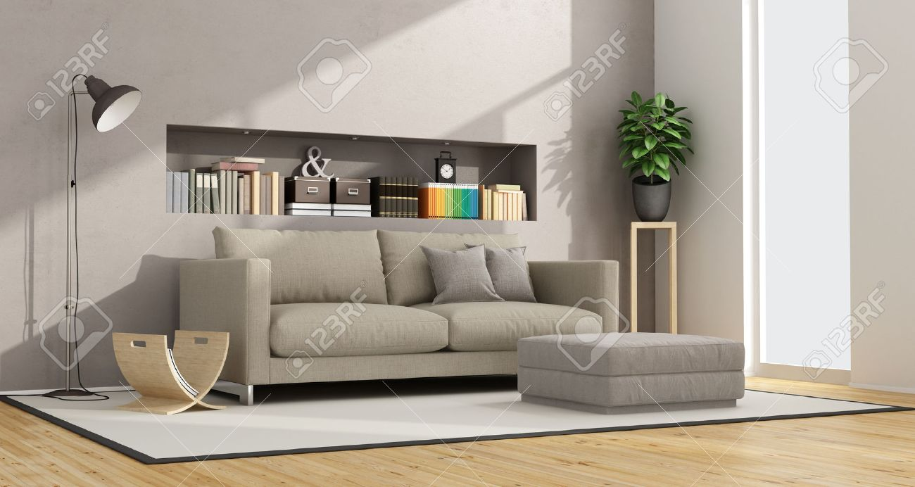 Modern Living Room With Sofa Footstool And Niche Books Objects