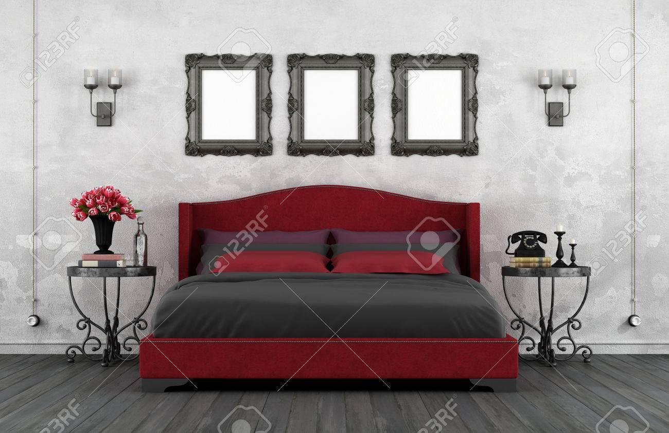 Dormitorio De La Vendimia Con Cama De Cuero Y Hierro Clásicas Mesitas De Noche 3d