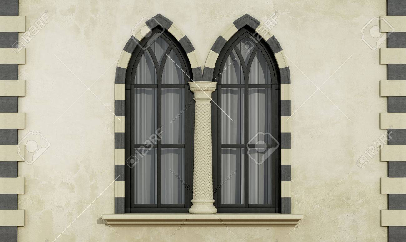 Old Facade With Mullioned Gothic Window Stone Frame And Column 3D Rendering Stock Photo