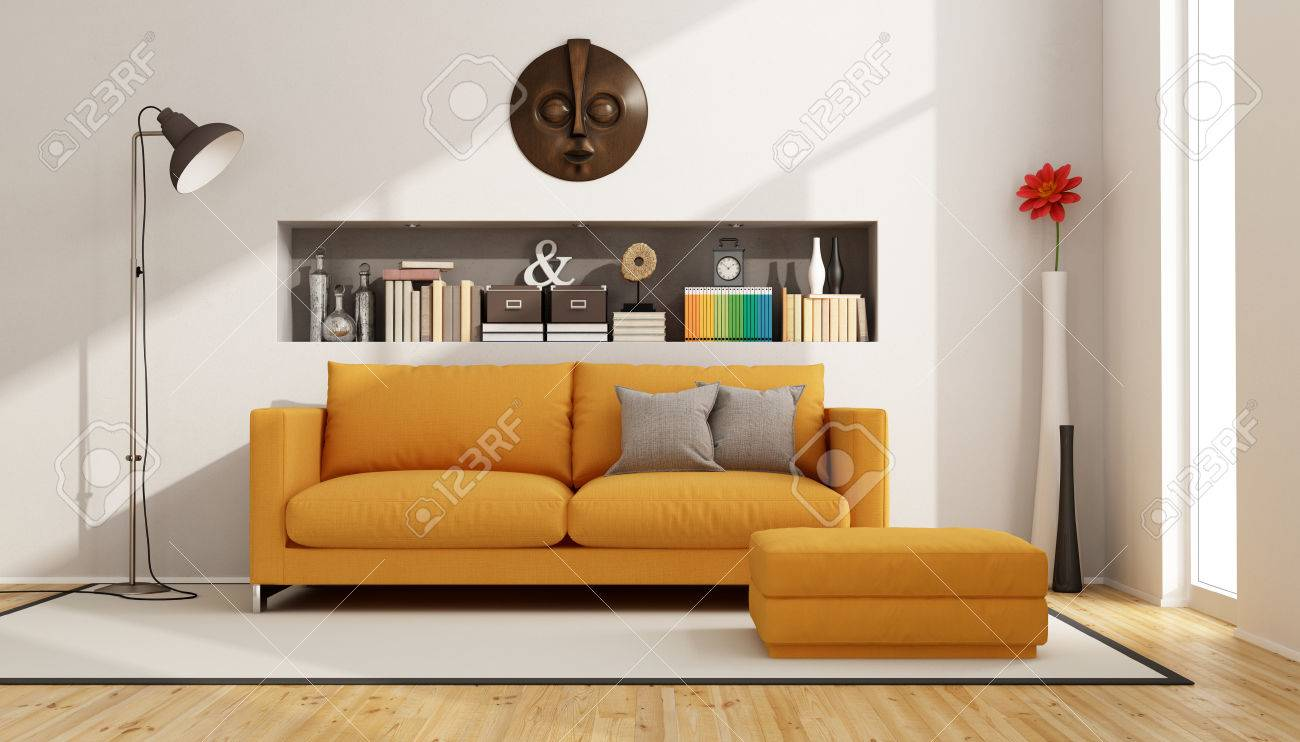 Contemporary Living Room With Sofa, Footstool And Niche With Books And  Objects   3D Rendering