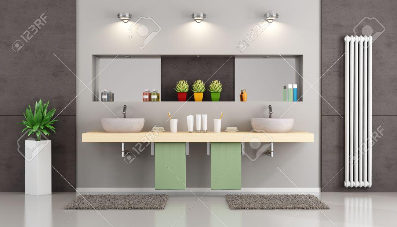 Salle de bains moderne avec double vasque sur étagère en bois, niche avec  miroir et objets - 3d Rendu