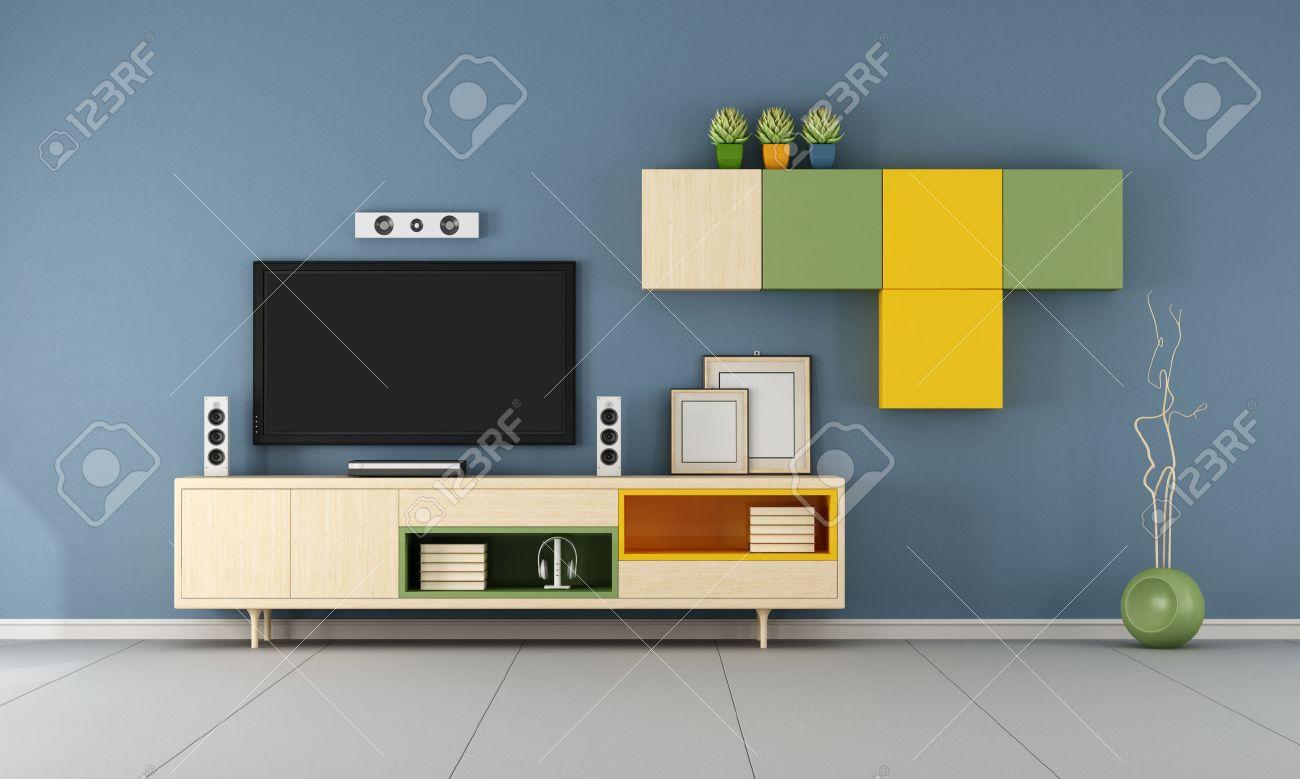 Modern TV wall unit in a  blue  living room  - 3D Rendering Standard-Bild - 51268178