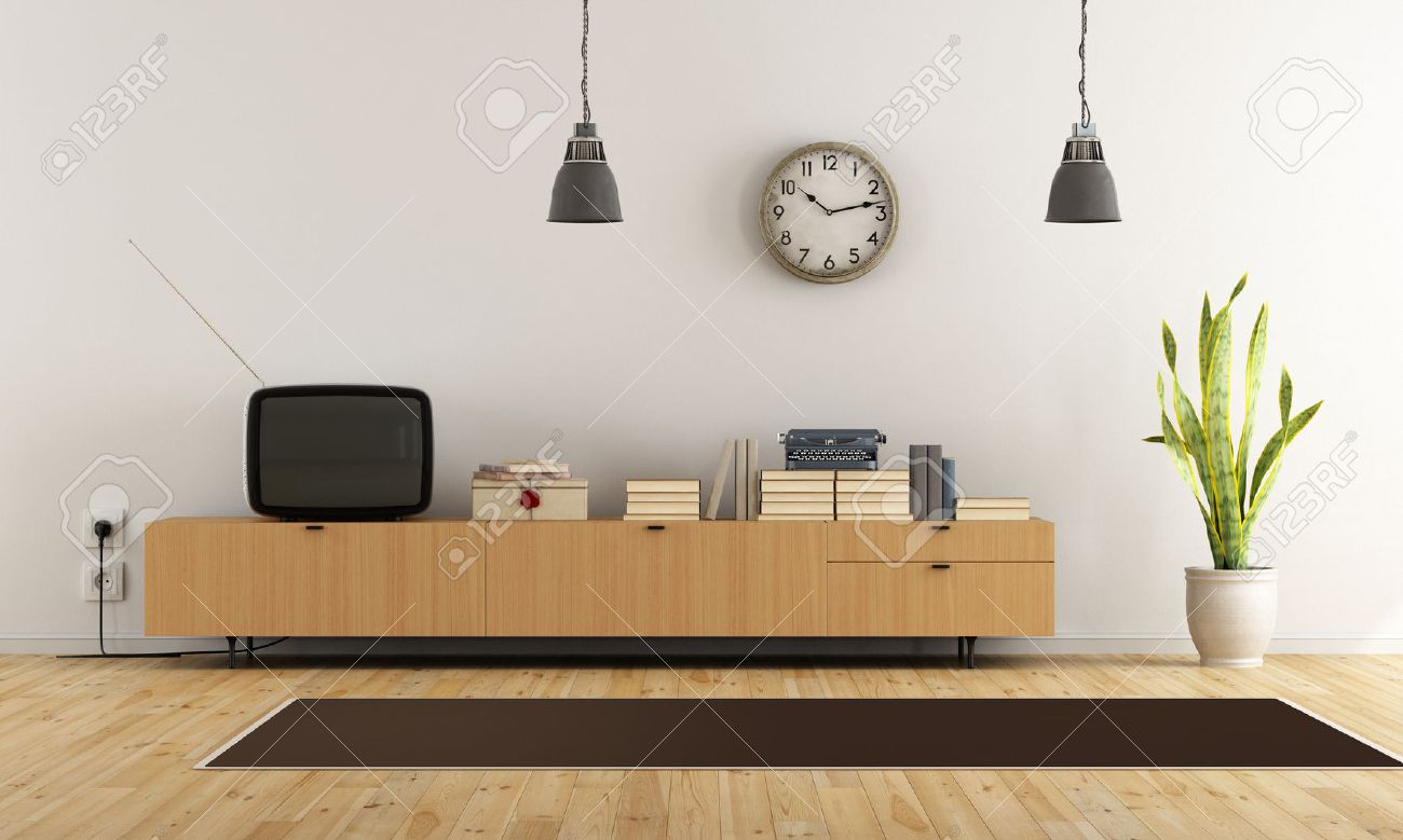 Stock Photo   Vintage Living Room With Retro Tv And Wooden Sideboard    Rendering