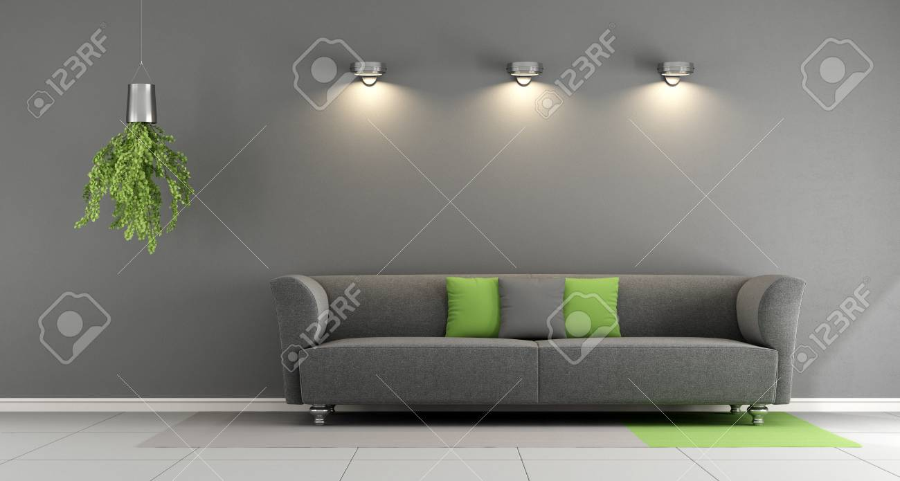 Gris salon contemporain avec canapé et projecteur sur le mur - 3d Rendu