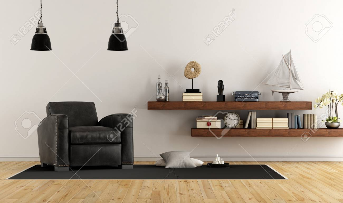 Retro Vintage Living Room With Leather Armchair And Wooden Shelves