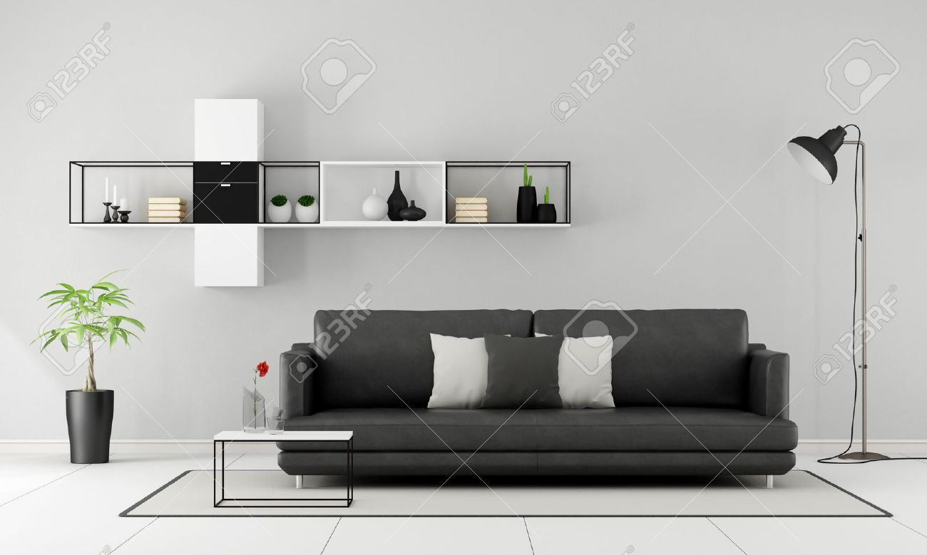 Minimalist Living Room With Black Sofa And Sideboard On Wall   3D Rendering  Stock Photo