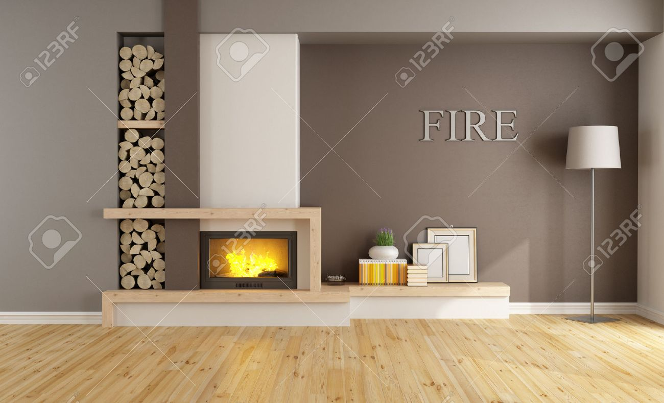 brown lounge with minimalist fireplace without furniture
